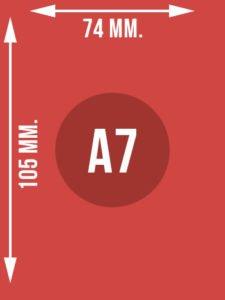 Format A7 wymiary w mm.