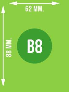 Format B8 wymiary w mm.