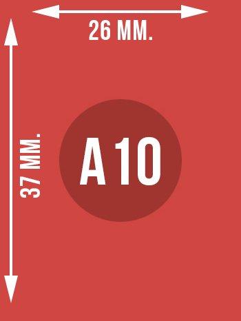 Format A10 wymiary w mm.