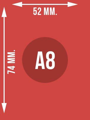 Format A8 wymiary w mm.