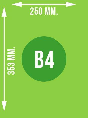 Format B4 wymiary w mm.