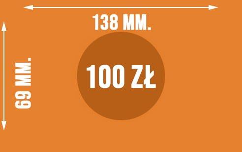 Graficznie pokazane wymiary banknotu o nominale 100 zł
