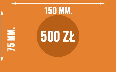 Graficznie pokazane wymiary banknotu o nominale 500 zł